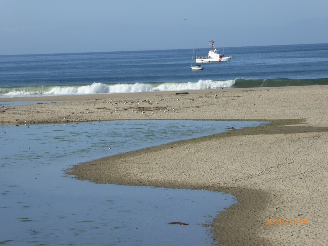 Coast Guard in front of closed river mouth